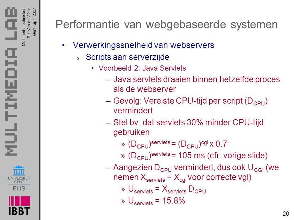 Multimediatechnieken 20 Rik Van de WalleGent, april 2007 Performantie van webgebaseerde systemen Verwerkingssnelheid van webservers o Scripts aan serverzijde Voorbeeld 2: Java Servlets –Java servlets draaien binnen hetzelfde proces als de webserver –Gevolg: Vereiste CPU-tijd per script (D CPU ) vermindert –Stel bv.
