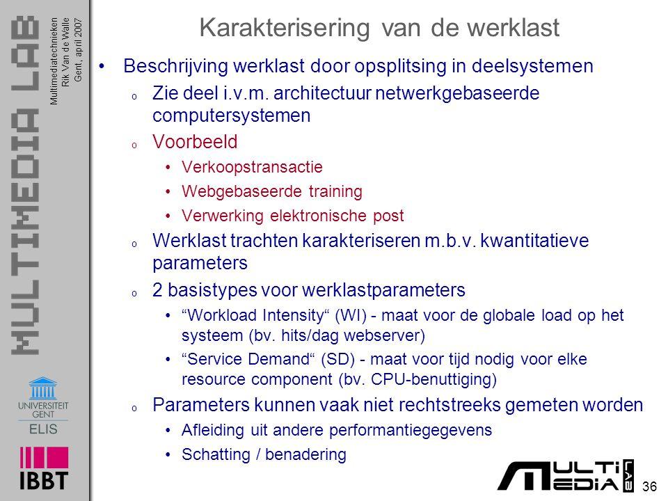 Multimediatechnieken 36 Rik Van de WalleGent, april 2007 Karakterisering van de werklast Beschrijving werklast door opsplitsing in deelsystemen o Zie deel i.v.m.