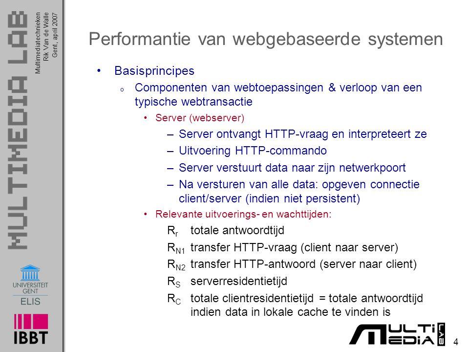 Multimediatechnieken 75 Rik Van de WalleGent, april 2007 Performantiemodellen Veralgemeend servermodel Bewijs formules: oef.