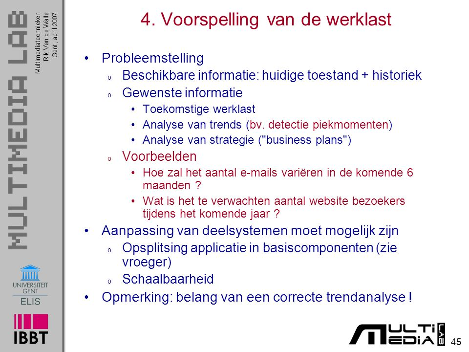 Multimediatechnieken 45 Rik Van de WalleGent, april 2007 4.
