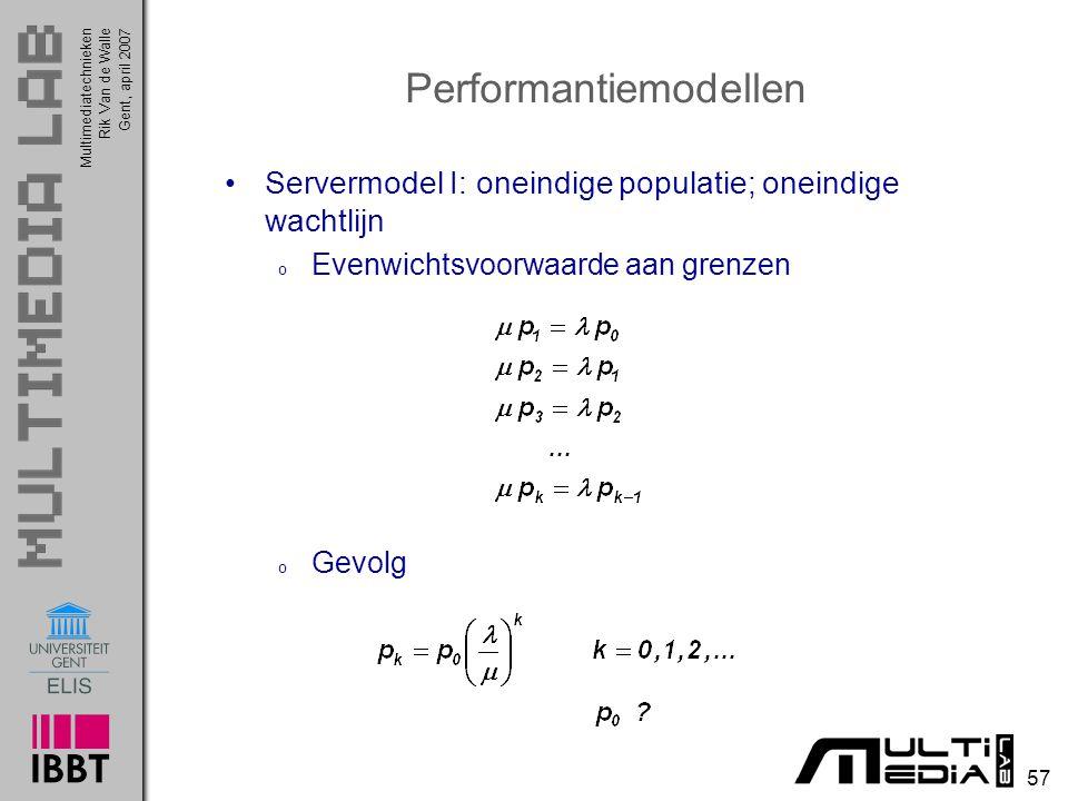 Multimediatechnieken 57 Rik Van de WalleGent, april 2007 Performantiemodellen Servermodel I: oneindige populatie; oneindige wachtlijn o Evenwichtsvoorwaarde aan grenzen o Gevolg