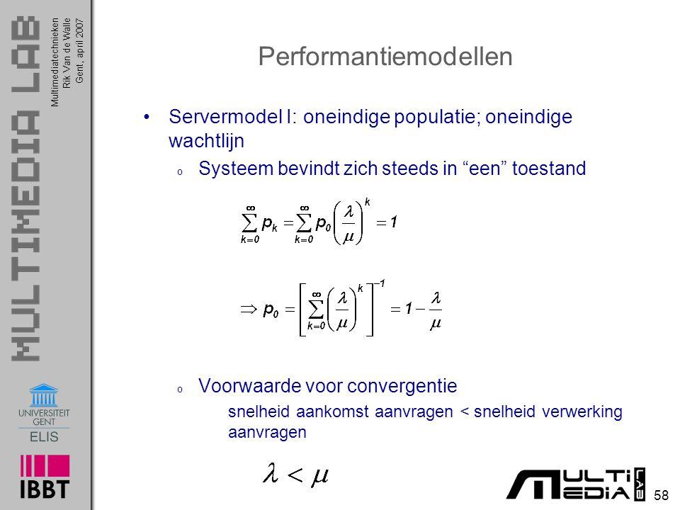Multimediatechnieken 58 Rik Van de WalleGent, april 2007 Performantiemodellen Servermodel I: oneindige populatie; oneindige wachtlijn o Systeem bevindt zich steeds in een toestand o Voorwaarde voor convergentie snelheid aankomst aanvragen < snelheid verwerking aanvragen