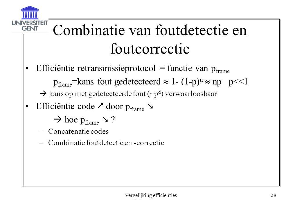 Vergelijking efficiënties28 Combinatie van foutdetectie en foutcorrectie Efficiëntie retransmissieprotocol = functie van p frame p frame =kans fout gedetecteerd  1- (1-p) n  np p<<1  kans op niet gedetecteerde fout (~p d ) verwaarloosbaar Efficiëntie code  door p frame   hoe p frame  .