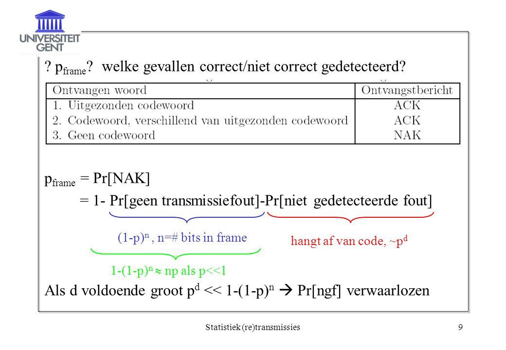 Statistiek (re)transmissies9 . p frame . welke gevallen correct/niet correct gedetecteerd.