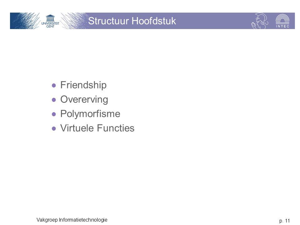 p. 11 Vakgroep Informatietechnologie Structuur Hoofdstuk Friendship Overerving Polymorfisme Virtuele Functies
