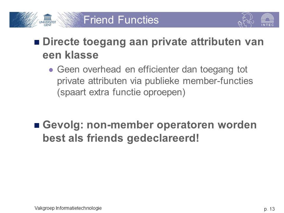 p. 13 Vakgroep Informatietechnologie Friend Functies Directe toegang aan private attributen van een klasse Geen overhead en efficienter dan toegang to