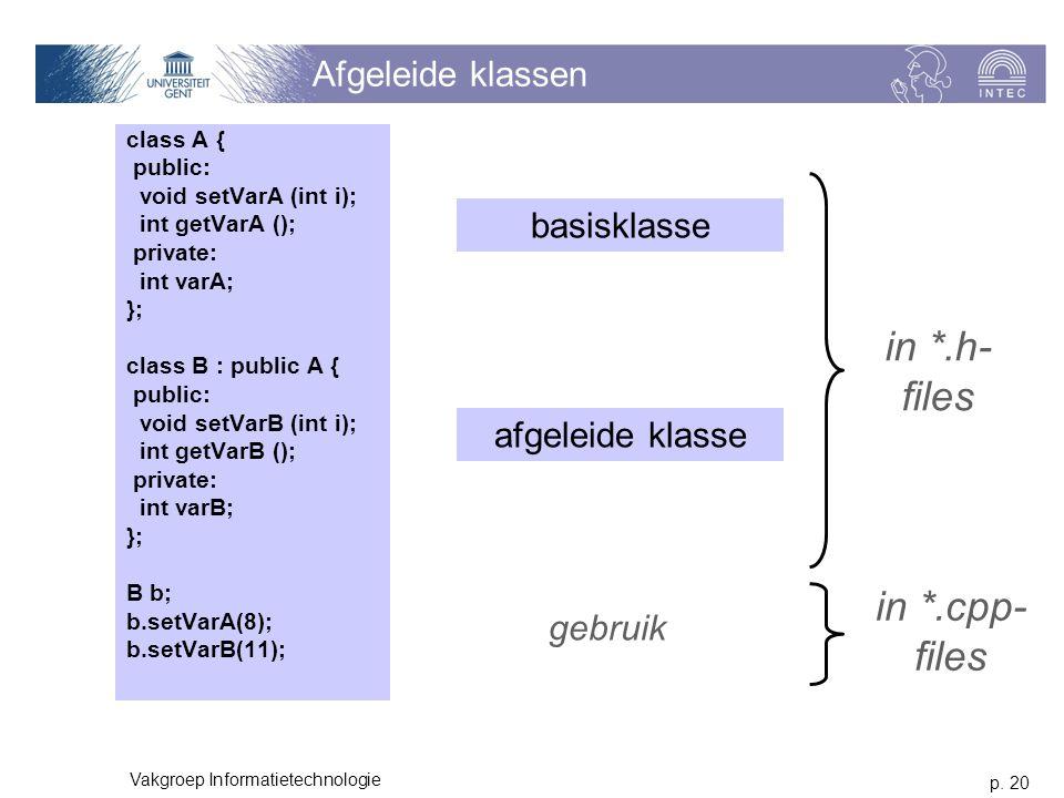 p. 20 Vakgroep Informatietechnologie Afgeleide klassen class A { public: void setVarA (int i); int getVarA (); private: int varA; }; class B : public