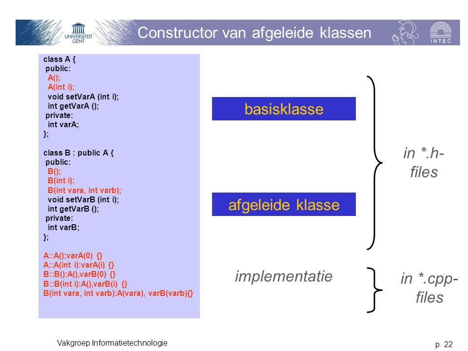 p. 22 Vakgroep Informatietechnologie Constructor van afgeleide klassen class A { public: A(); A(int i); void setVarA (int i); int getVarA (); private: