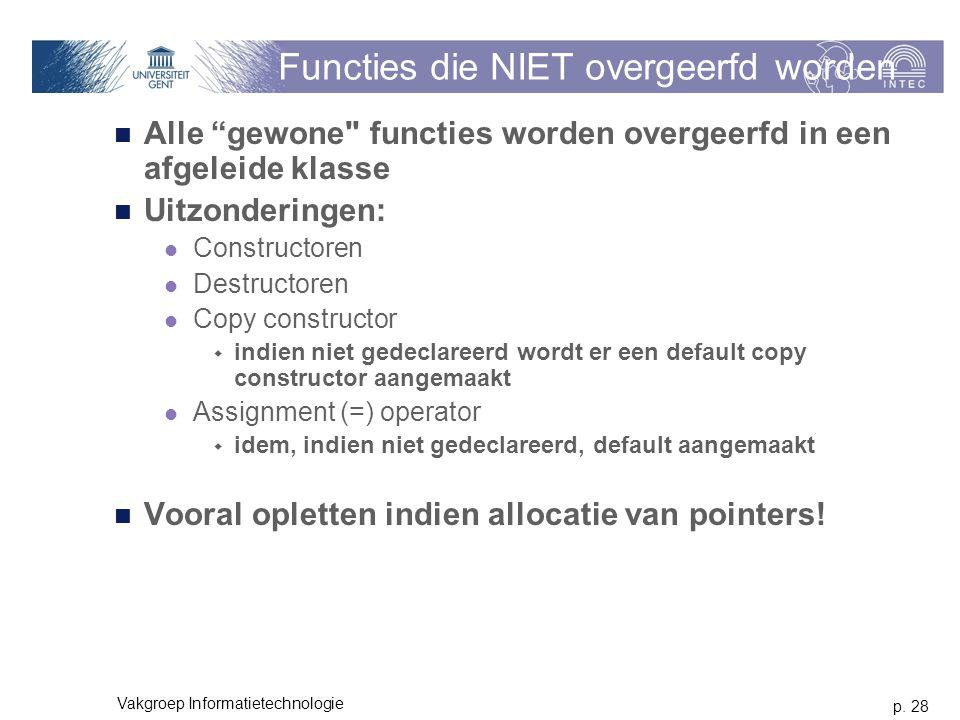 """p. 28 Vakgroep Informatietechnologie Functies die NIET overgeerfd worden Alle """"gewone"""