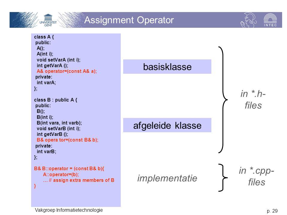 p. 29 Vakgroep Informatietechnologie Assignment Operator class A { public: A(); A(int i); void setVarA (int i); int getVarA (); A& operator=(const A&