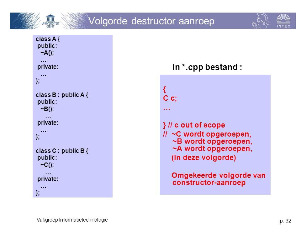 p. 32 Vakgroep Informatietechnologie Volgorde destructor aanroep class A { public: ~A(); … private: … }; class B : public A { public: ~B(); … private: