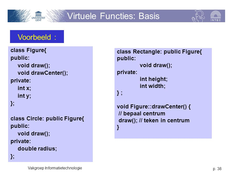 p. 38 Vakgroep Informatietechnologie Virtuele Functies: Basis class Figure{ public: void draw(); void drawCenter(); private: int x; int y; }; class Ci