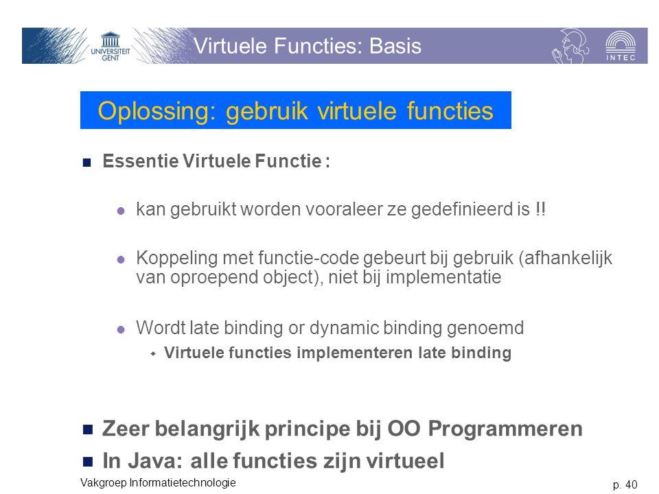 p. 40 Vakgroep Informatietechnologie Virtuele Functies: Basis Essentie Virtuele Functie : kan gebruikt worden vooraleer ze gedefinieerd is !! Koppelin