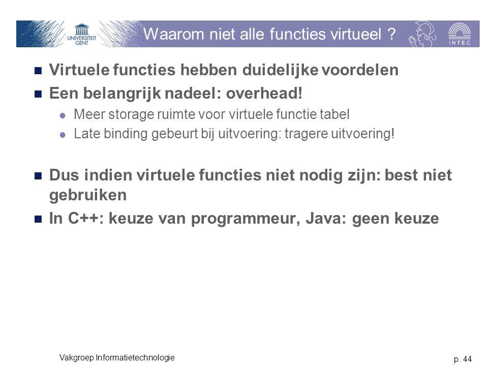 p. 44 Vakgroep Informatietechnologie Waarom niet alle functies virtueel ? Virtuele functies hebben duidelijke voordelen Een belangrijk nadeel: overhea