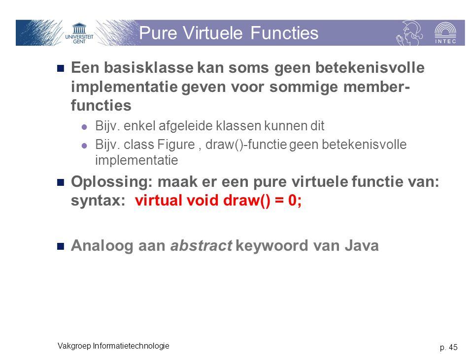 p. 45 Vakgroep Informatietechnologie Pure Virtuele Functies Een basisklasse kan soms geen betekenisvolle implementatie geven voor sommige member- func