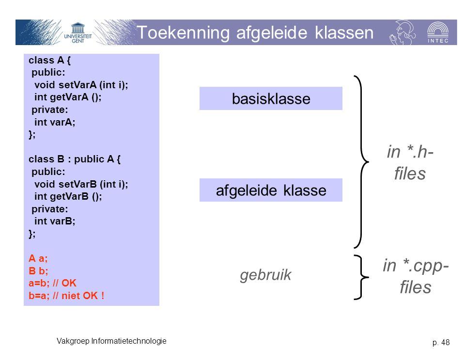 p. 48 Vakgroep Informatietechnologie Toekenning afgeleide klassen class A { public: void setVarA (int i); int getVarA (); private: int varA; }; class