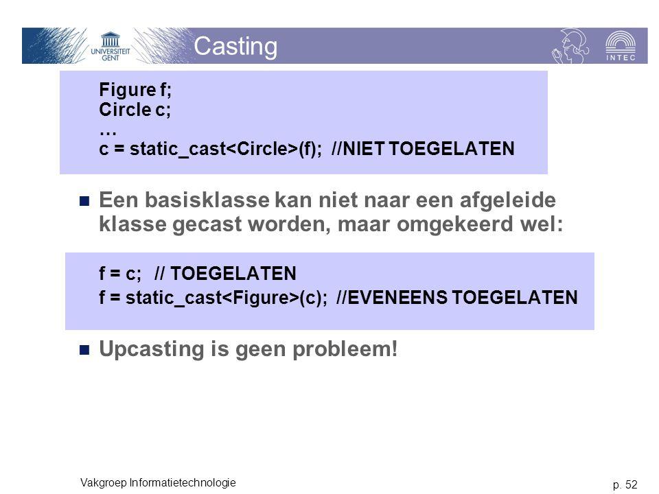 p. 52 Vakgroep Informatietechnologie Casting Figure f; Circle c; … c = static_cast (f); //NIET TOEGELATEN Een basisklasse kan niet naar een afgeleide