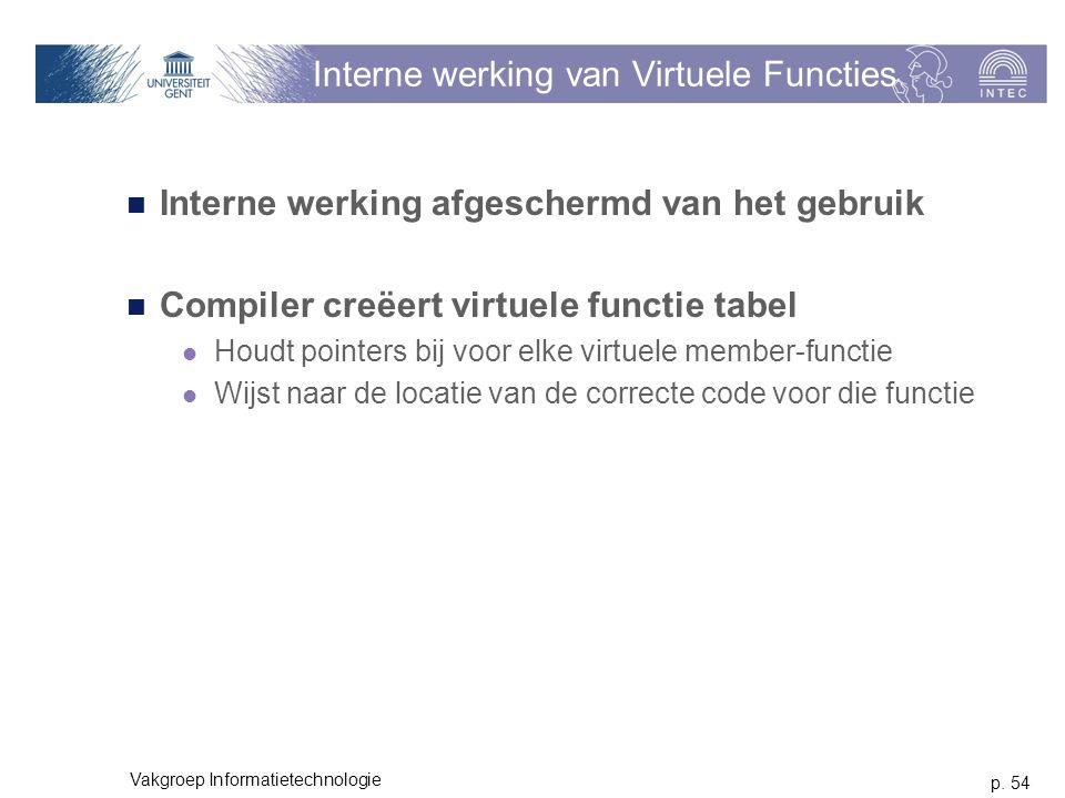 p. 54 Vakgroep Informatietechnologie Interne werking van Virtuele Functies Interne werking afgeschermd van het gebruik Compiler creëert virtuele funct