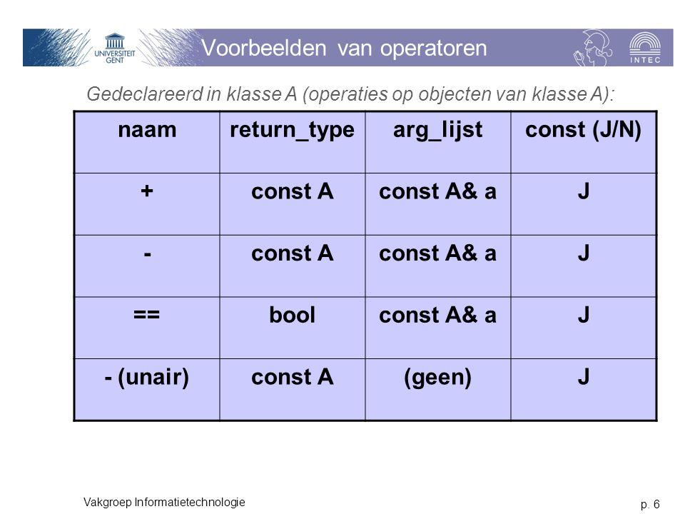 p. 6 Vakgroep Informatietechnologie Voorbeelden van operatoren naamreturn_typearg_lijstconst (J/N) +const Aconst A& aJ -const Aconst A& aJ ==boolconst