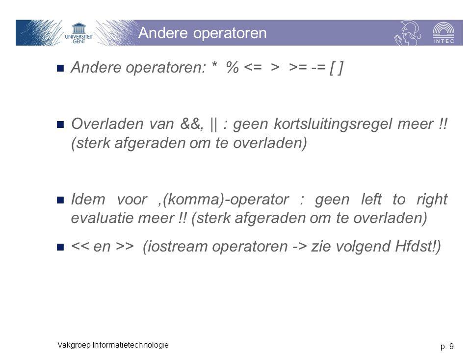 p. 9 Vakgroep Informatietechnologie Andere operatoren Andere operatoren: * % >= -= [ ] Overladen van &&, || : geen kortsluitingsregel meer !! (sterk a