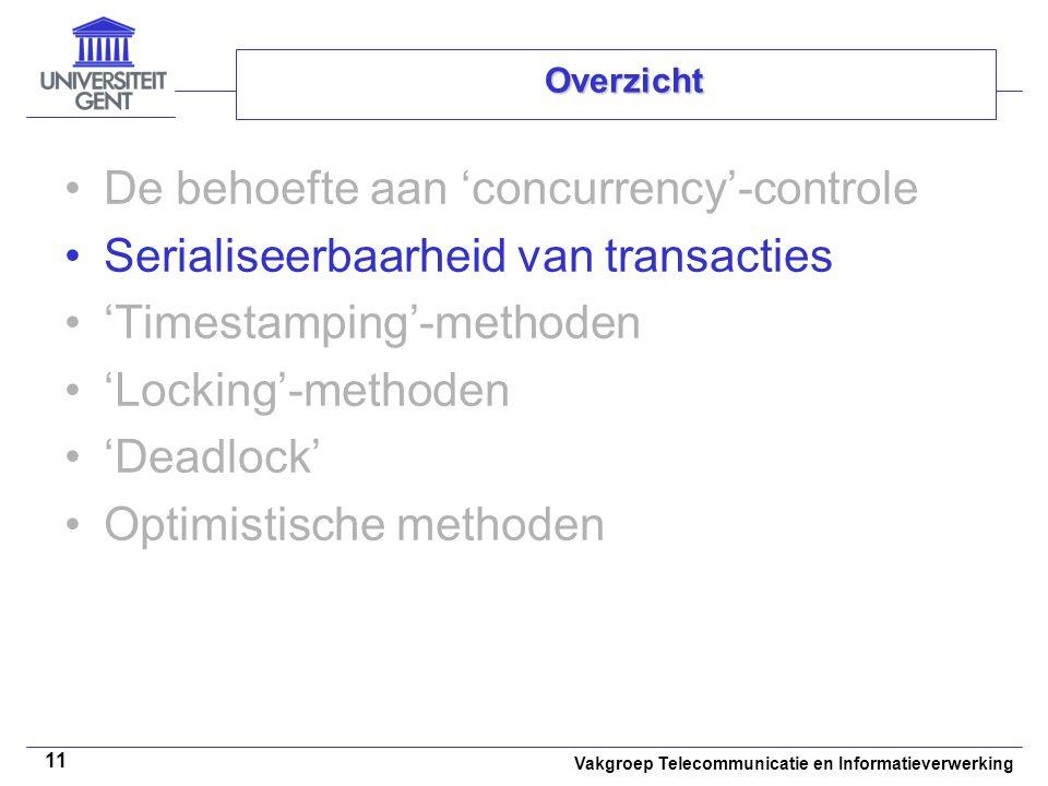 Vakgroep Telecommunicatie en Informatieverwerking 11 Overzicht De behoefte aan 'concurrency'-controle Serialiseerbaarheid van transacties 'Timestamping'-methoden 'Locking'-methoden 'Deadlock' Optimistische methoden