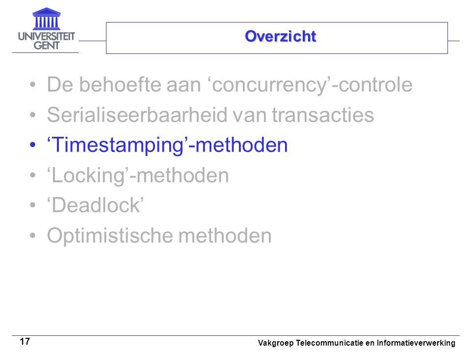 Vakgroep Telecommunicatie en Informatieverwerking 17 Overzicht De behoefte aan 'concurrency'-controle Serialiseerbaarheid van transacties 'Timestamping'-methoden 'Locking'-methoden 'Deadlock' Optimistische methoden
