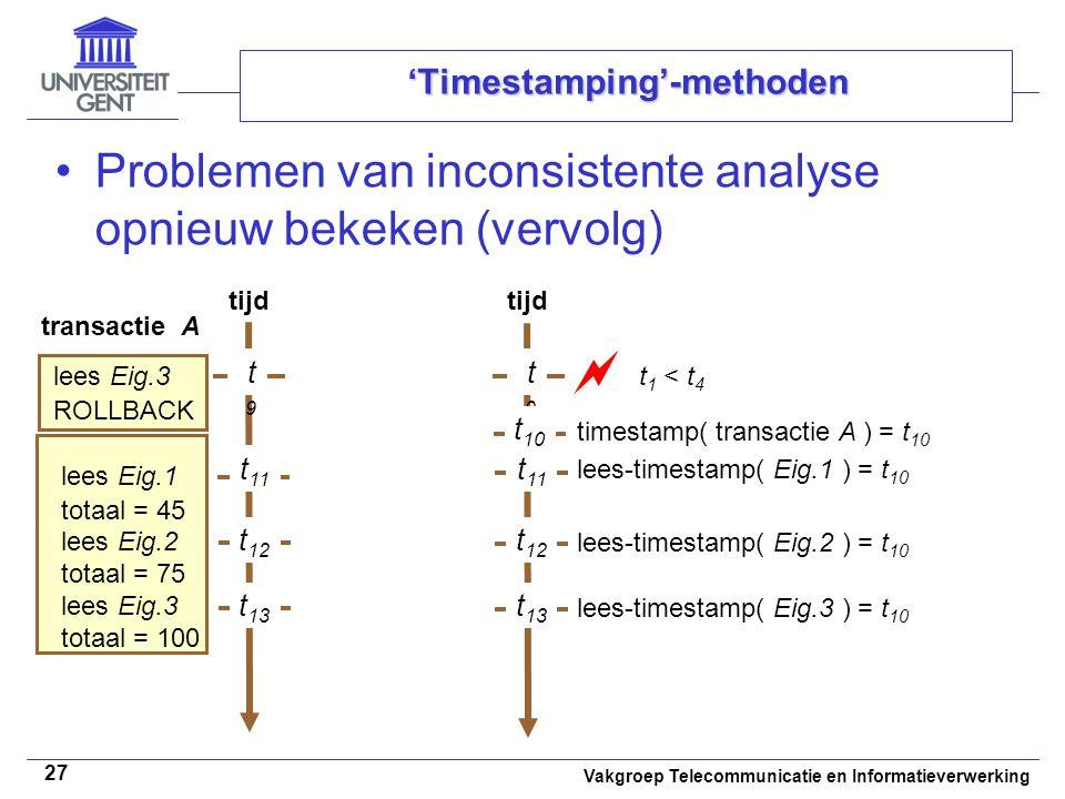 Vakgroep Telecommunicatie en Informatieverwerking 27 'Timestamping'-methoden Problemen van inconsistente analyse opnieuw bekeken (vervolg) tijd transactie A lees Eig.3 ROLLBACK tijd t9t9  lees Eig.1 totaal = 45 lees Eig.2 totaal = 75 lees Eig.3 totaal = 100 t9t9 t 11 t 12 t 11 t 12 t 10 t 13 t 1 < t 4 timestamp( transactie A ) = t 10 lees-timestamp( Eig.1 ) = t 10 lees-timestamp( Eig.2 ) = t 10 lees-timestamp( Eig.3 ) = t 10