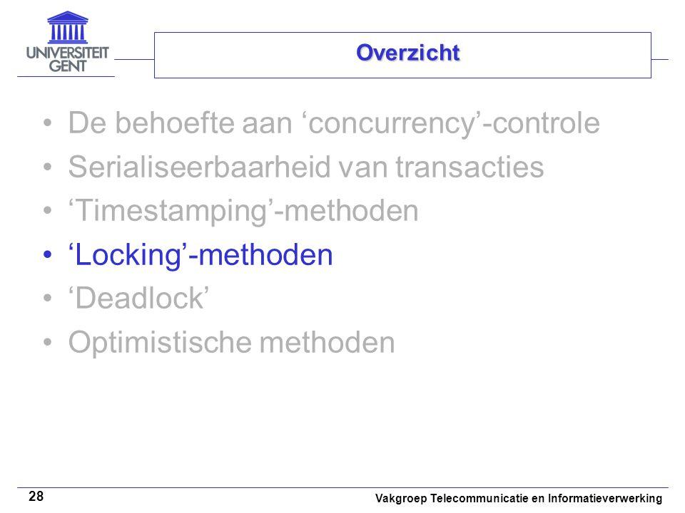 Vakgroep Telecommunicatie en Informatieverwerking 28 Overzicht De behoefte aan 'concurrency'-controle Serialiseerbaarheid van transacties 'Timestamping'-methoden 'Locking'-methoden 'Deadlock' Optimistische methoden