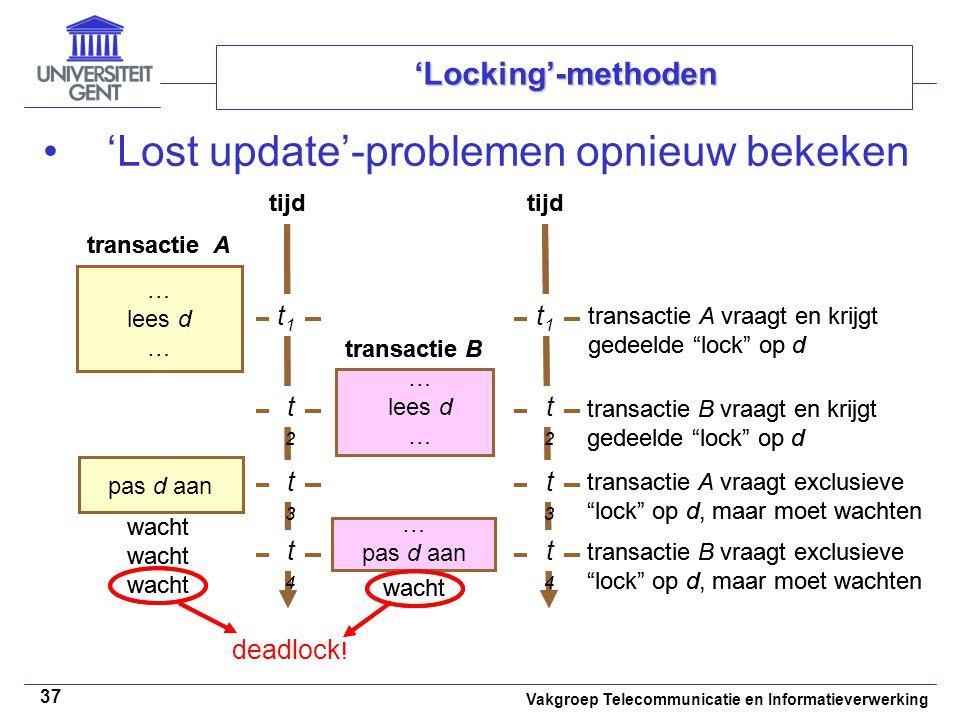 Vakgroep Telecommunicatie en Informatieverwerking 37 'Locking'-methoden 'Lost update'-problemen opnieuw bekeken tijd … lees d … lees d … t1t1 t4t4 pas d aan … pas d aan transactie B transactie A tijd t1t1 t4t4 transactie A vraagt en krijgt gedeelde lock op d deadlock .