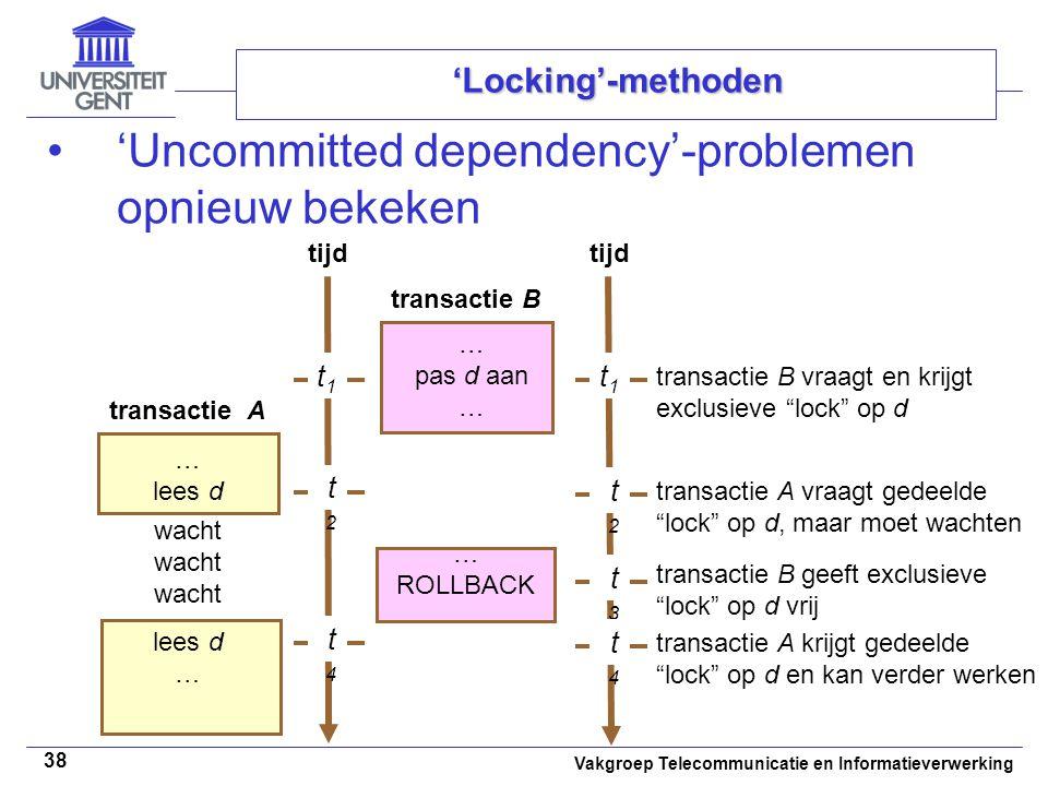 Vakgroep Telecommunicatie en Informatieverwerking 38 'Locking'-methoden 'Uncommitted dependency'-problemen opnieuw bekeken tijd … lees d … pas d aan … t1t1 t2t2 ROLLBACK transactie B transactie A tijd t1t1 t2t2 t3t3 lees d … wacht transactie B vraagt en krijgt exclusieve lock op d transactie A vraagt gedeelde lock op d, maar moet wachten transactie B geeft exclusieve lock op d vrij t4t4 t4t4 transactie A krijgt gedeelde lock op d en kan verder werken