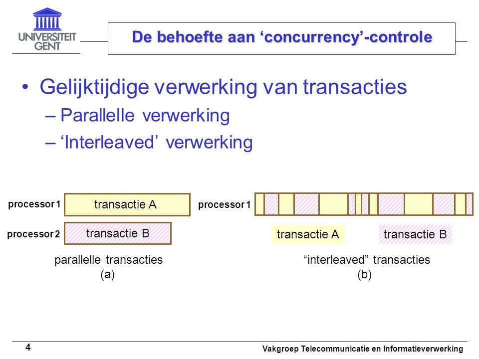 Vakgroep Telecommunicatie en Informatieverwerking 4 De behoefte aan 'concurrency'-controle Gelijktijdige verwerking van transacties –Parallelle verwer