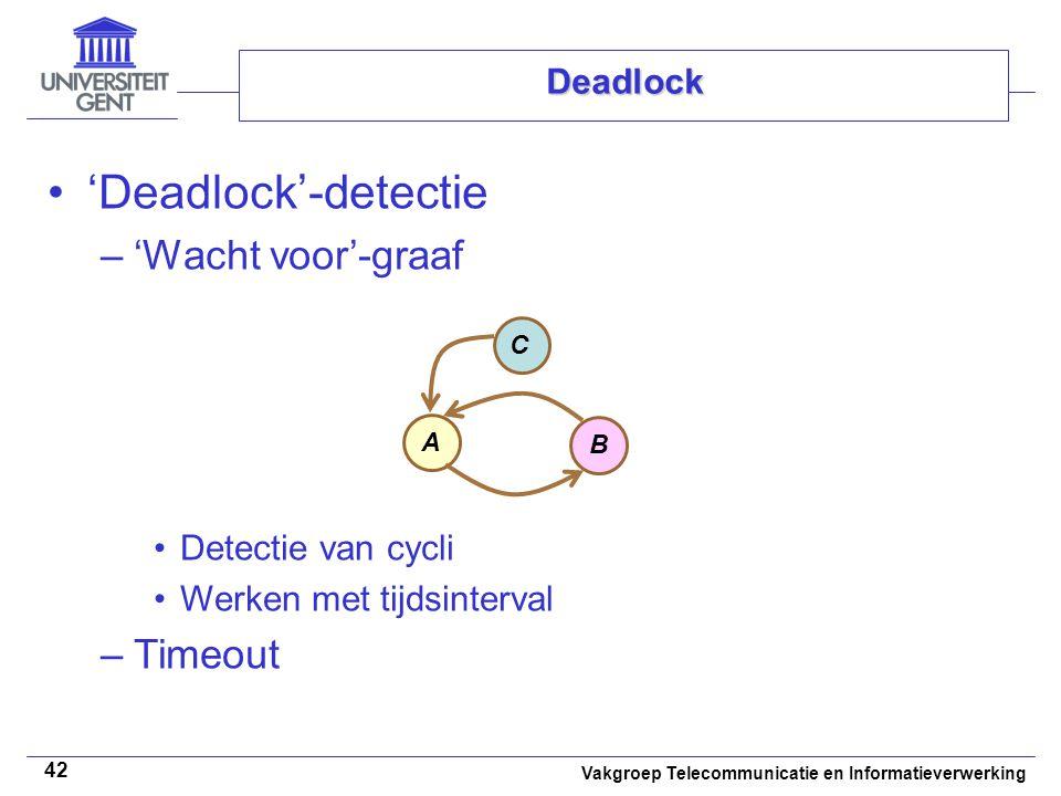 Vakgroep Telecommunicatie en Informatieverwerking 42 Deadlock 'Deadlock'-detectie –'Wacht voor'-graaf Detectie van cycli Werken met tijdsinterval –Timeout A B C