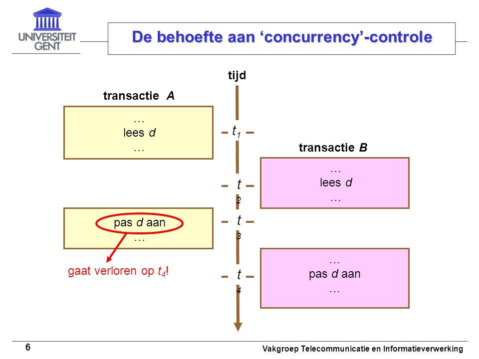 Vakgroep Telecommunicatie en Informatieverwerking 6 De behoefte aan 'concurrency'-controle tijd … lees d … lees d … t1t1 t2t2 t3t3 t4t4 pas d aan … pas d aan … gaat verloren op t 4 .