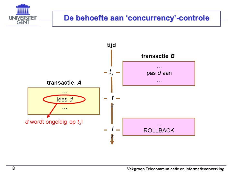 Vakgroep Telecommunicatie en Informatieverwerking 8 De behoefte aan 'concurrency'-controle tijd … pas d aan … t1t1 t2t2 t3t3 lees d … ROLLBACK d wordt ongeldig op t 3 .
