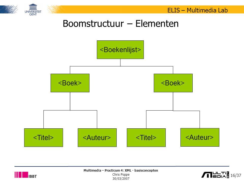 16/37 ELIS – Multimedia Lab Multimedia – Practicum 4: XML - basisconcepten Chris Poppe 30/03/2007 Boomstructuur – Elementen