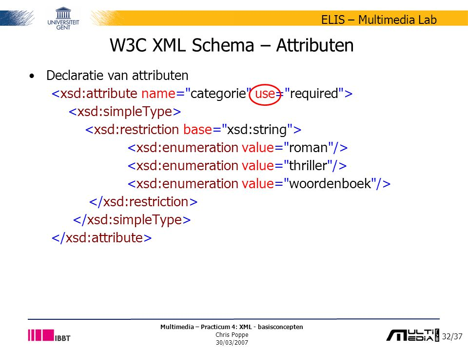 32/37 ELIS – Multimedia Lab Multimedia – Practicum 4: XML - basisconcepten Chris Poppe 30/03/2007 W3C XML Schema – Attributen Declaratie van attributen
