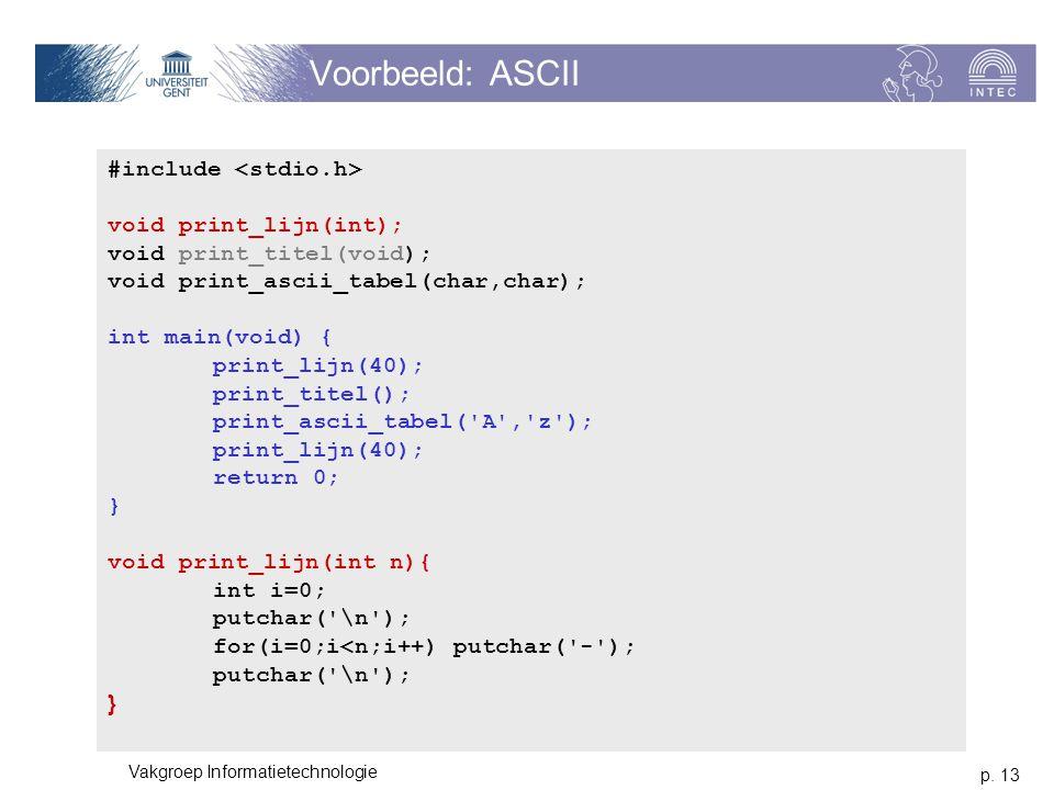 p. 13 Vakgroep Informatietechnologie Voorbeeld: ASCII #include void print_lijn(int); void print_titel(void); void print_ascii_tabel(char,char); int ma