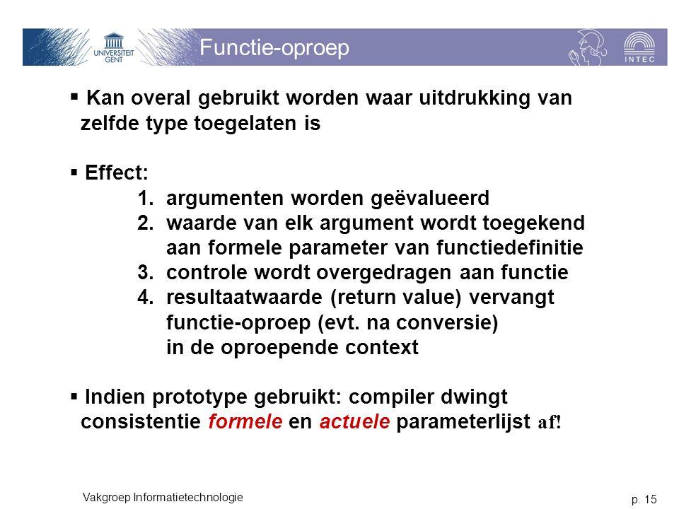 p. 15 Vakgroep Informatietechnologie Functie-oproep  Kan overal gebruikt worden waar uitdrukking van zelfde type toegelaten is  Effect: 1. argumente