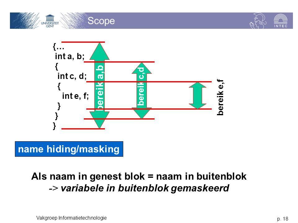 p. 18 Vakgroep Informatietechnologie Scope {… int a, b; { int c, d; { int e, f; } bereik a,b bereik c,d bereik e,f name hiding/masking Als naam in gen