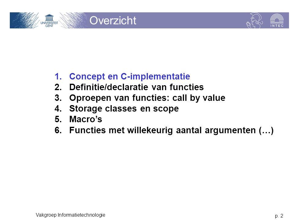 p. 2 Vakgroep Informatietechnologie Overzicht 1.Concept en C-implementatie 2.Definitie/declaratie van functies 3.Oproepen van functies: call by value