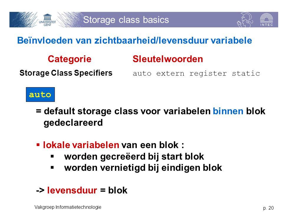 p. 20 Vakgroep Informatietechnologie Storage class basics Beïnvloeden van zichtbaarheid/levensduur variabele auto = default storage class voor variabe