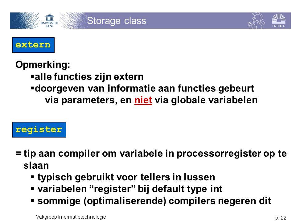 p. 22 Vakgroep Informatietechnologie Storage class extern Opmerking:  alle functies zijn extern  doorgeven van informatie aan functies gebeurt via p