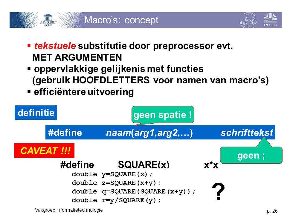 p. 26 Vakgroep Informatietechnologie Macro's: concept  tekstuele substitutie door preprocessor evt. MET ARGUMENTEN  oppervlakkige gelijkenis met fun
