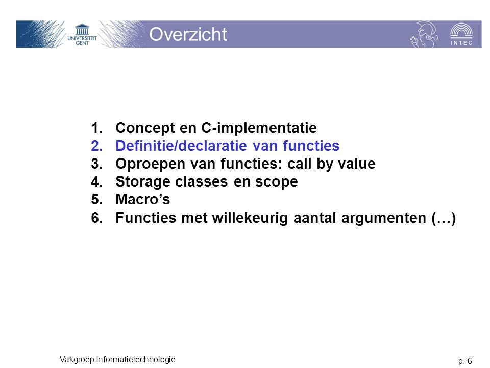 p. 6 Vakgroep Informatietechnologie Overzicht 1.Concept en C-implementatie 2.Definitie/declaratie van functies 3.Oproepen van functies: call by value