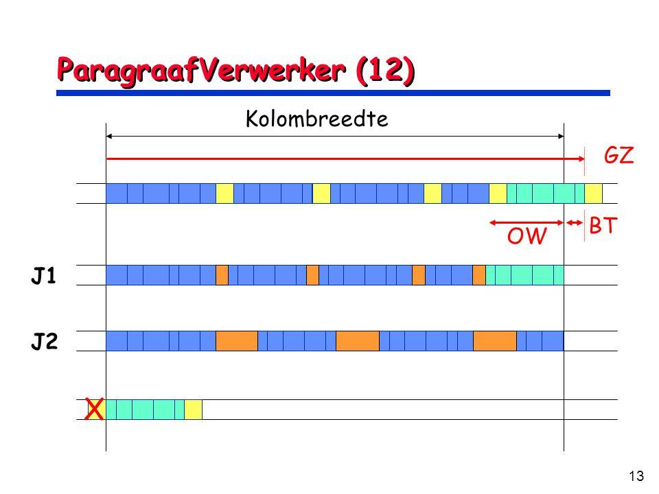 13 ParagraafVerwerker (12) Kolombreedte OW GZ BT J1 J2 X