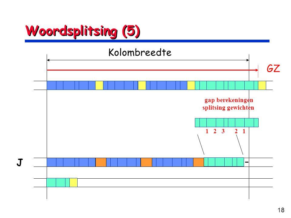 18 Woordsplitsing (5) Kolombreedte GZ J 1 2 3 2 1 gap berekeningen splitsing gewichten