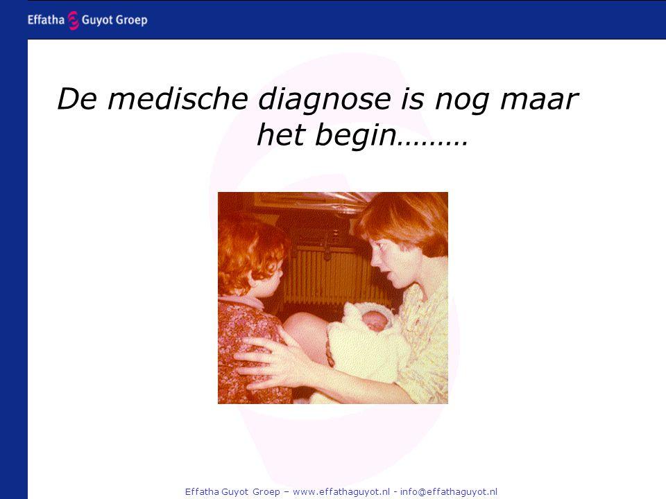 Effatha Guyot Groep – www.effathaguyot.nl - info@effathaguyot.nl De medische diagnose is nog maar het begin………