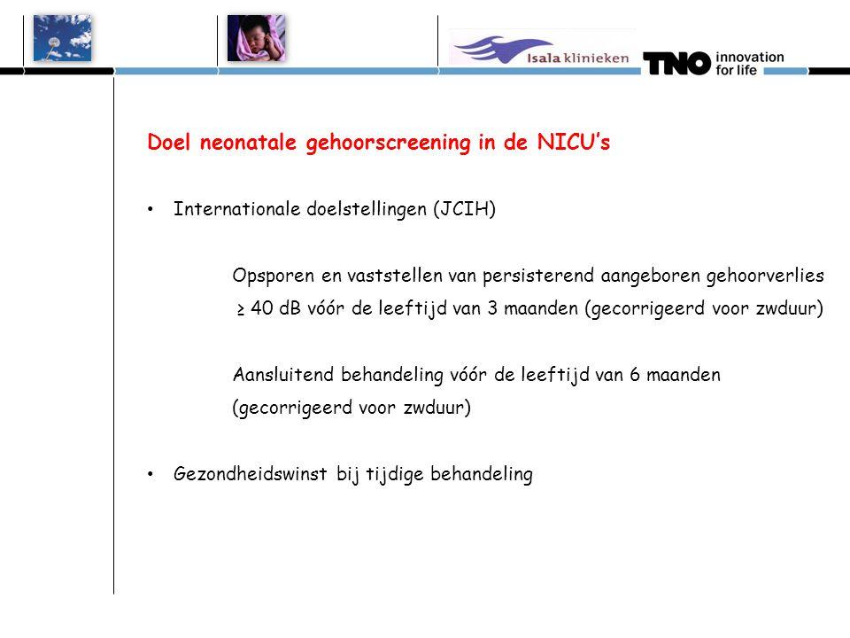 Doel neonatale gehoorscreening in de NICU's Internationale doelstellingen (JCIH) Opsporen en vaststellen van persisterend aangeboren gehoorverlies ≥ 40 dB vóór de leeftijd van 3 maanden (gecorrigeerd voor zwduur) Aansluitend behandeling vóór de leeftijd van 6 maanden (gecorrigeerd voor zwduur) Gezondheidswinst bij tijdige behandeling