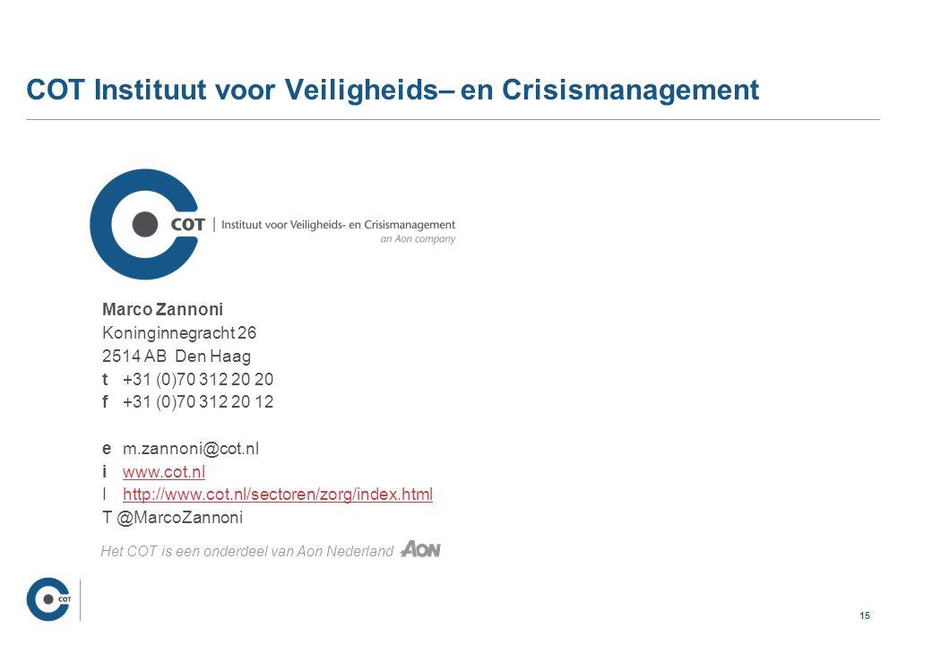 15 COT Instituut voor Veiligheids– en Crisismanagement Marco Zannoni Koninginnegracht 26 2514 AB Den Haag t +31 (0)70 312 20 20 f +31 (0)70 312 20 12 e m.zannoni@cot.nl i www.cot.nlwww.cot.nl Ihttp://www.cot.nl/sectoren/zorg/index.htmlhttp://www.cot.nl/sectoren/zorg/index.html T @MarcoZannoni Het COT is een onderdeel van Aon Nederland