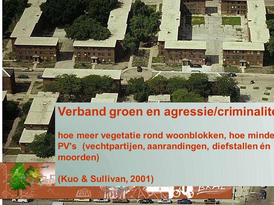 Verband groen en agressie/criminaliteit hoe meer vegetatie rond woonblokken, hoe minder PV s (vechtpartijen, aanrandingen, diefstallen én moorden) (Kuo & Sullivan, 2001)